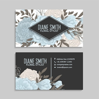 Blue flower business cards template at dark background