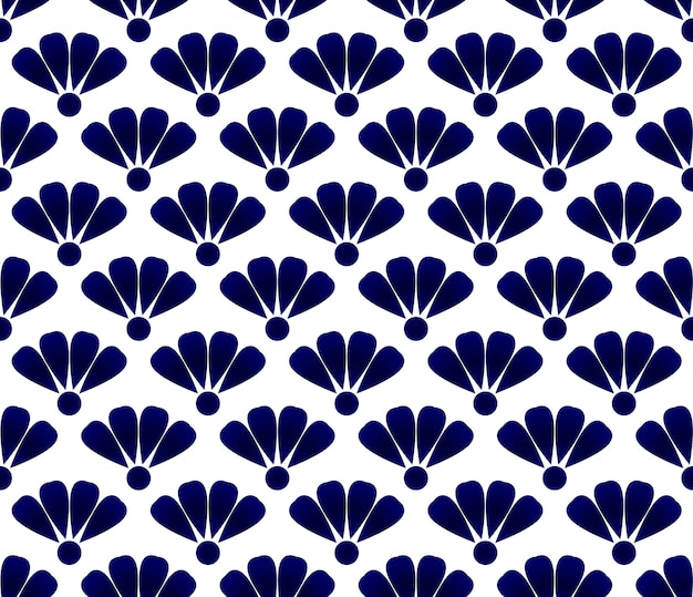 Blue flower ceramic pattern