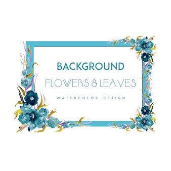 Sfondo blu cornice fiore