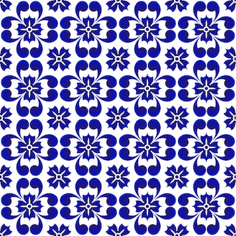 Blue flower pattern, ceramic seamless porcelain background, beautiful tile design, vector