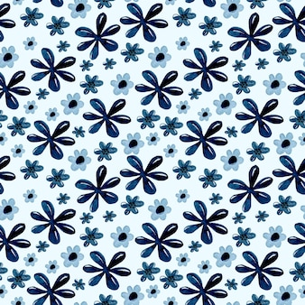 Синий цветок акварель бесшовные модели