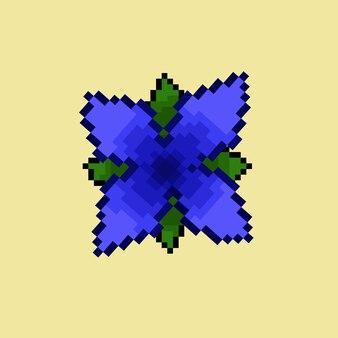 픽셀 아트 스타일의 푸른 꽃