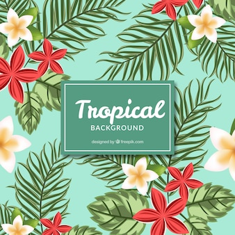 Blue flowered tropical background