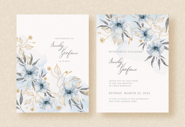 結婚式の招待カードに青い花と葉の水彩画