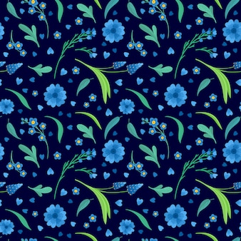 Blue flowers blossoms flat vector retro seamless pattern. daisy and cornflower decorative background. floral backdrop. blooming meadow wildflowers. vintage textile, fabric, wallpaper design