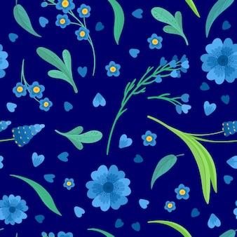 파란 꽃 꽃 원활한 패턴 일러스트