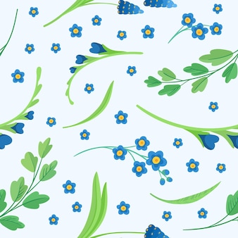 Blue flowers blossoms seamless pattern