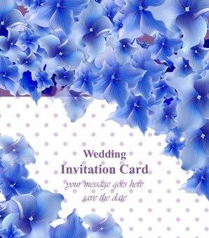 青い花カードベクトル。招待状、結婚式、ブランドブック、名刺、ポスターのための美しいイラスト。テキストのための場所