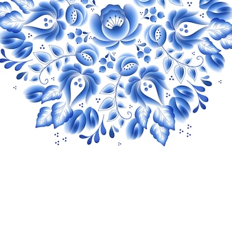 Blue flowers floral russian porcelain beautiful folk ornament.  illustration. decorative composition.