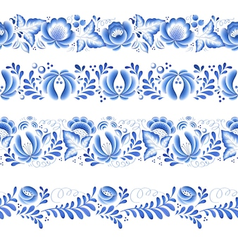 Blue flowers floral russian porcelain beautiful folk ornament.  illustration. seamless horizontal borders.