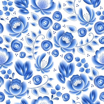 Blue flowers floral russian porcelain beautiful folk ornament.  illustration. seamless pattern background. floral chinese pattern.