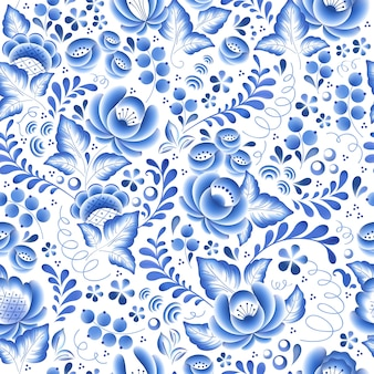 Blue flowers floral russian porcelain beautiful folk ornament.  illustration. seamless pattern background.