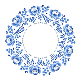 Blue flowers floral russian porcelain round frame with beautiful folk ornament.  illustration. decorative composition.