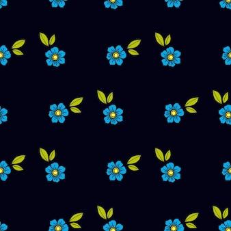 오래 된 스타일 문신에 파란 꽃