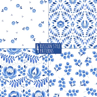 Blue flowers and leaves floral russian porcelain beautiful folk ornament.  illustration. seamless pattern background.