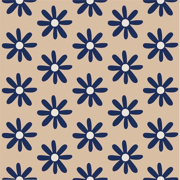 Blue flowers pattern background floral vector illustration