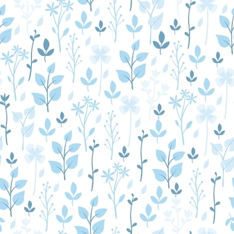 Blue flowers and plants pattern