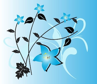 Blue flowers with black stems and leaves