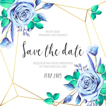 Blue Flowers with Golden Frame Wedding Invitation