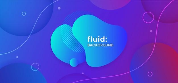 Blue fluid liquid creative geometric shape composition background