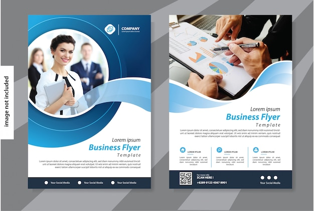 Blue flyer business template for cover brochure corporate