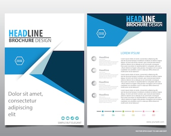 Blue flyer cover business brochure, Leaflet advertising abstract background