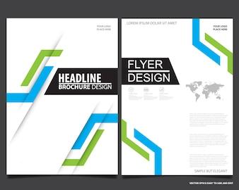 Blue flyer cover business brochure vector design