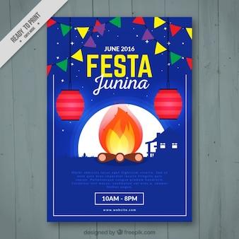 Blue flyer of festa junina