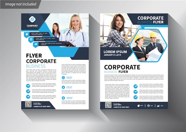 Blue flyer template for brochure corporate