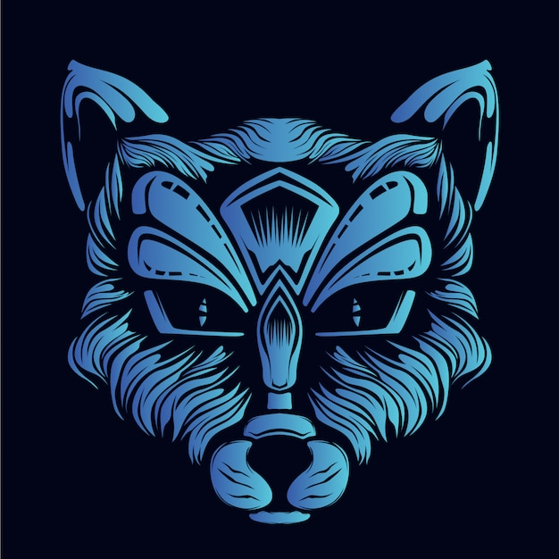 Blue fox head illustration