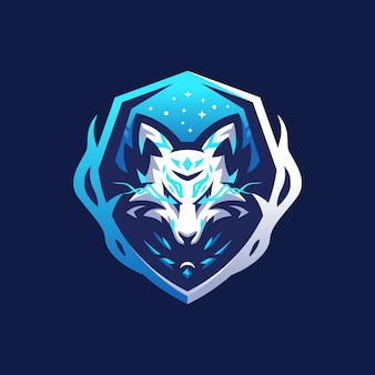 Blue fox with shield emblem badge logo design template