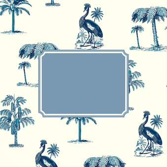 크레인 패턴 배경에 파란색 프레임