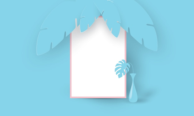 Синяя рамка с вазой на синем тропическом фоне