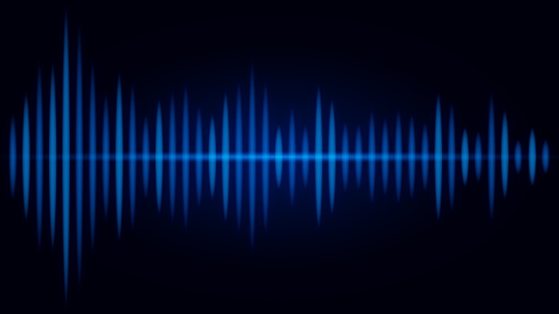 Blue frequency of sound wave on black background. illustration about visual of audio.