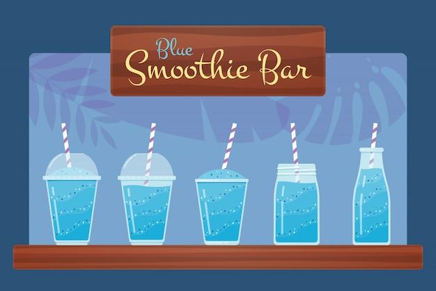 Blue fresh fruit smoothie or cocktail set.