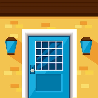 Blue front door and lamps of yellow house