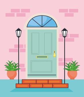 Сцена с синей входной дверью