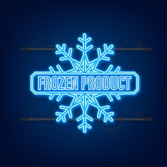 Blue frozen product neon icon on blue background.