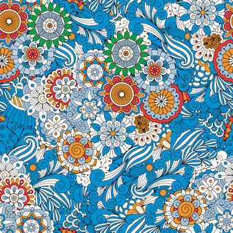 Blue full frame floral seamless background