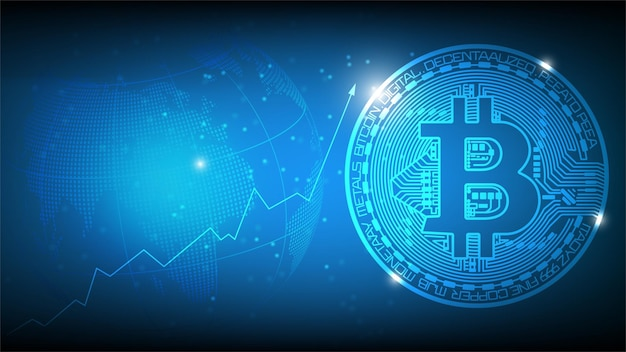 Blue futuristic abstract technology background with bitcoin and blockchain concept.