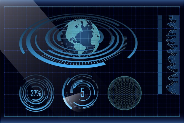 점선 지구, 막대 및 원형 그래프가있는 파란색 미래형 hud 디자인