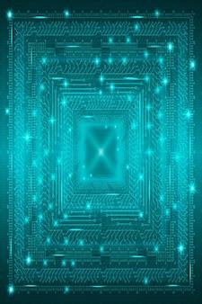 はがきポスターbのサイバーパンクスタイルのデジタルアートデザインの青い未来的な技術的背景...