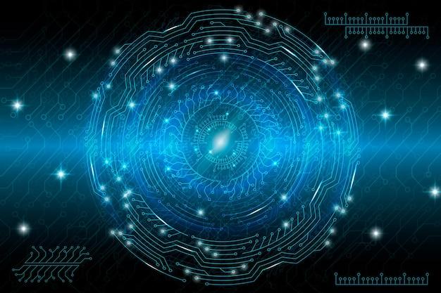 青い未来的な技術イラスト