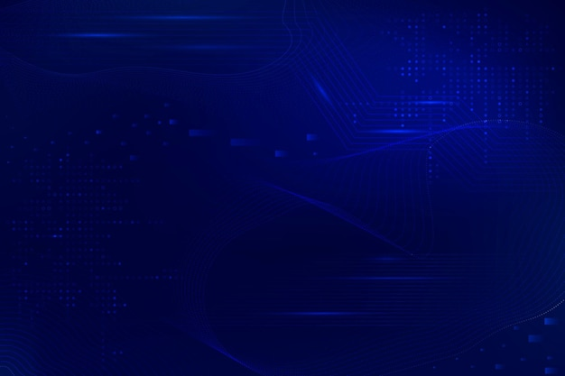 Blue futuristic waves background vector with computer code technology