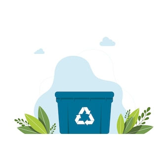 Blue garbage can with sign of a garbage recycling trash container bin icon. garbage recycle basket box for trash waste