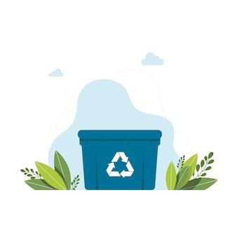 쓰레기 재활용 기호가 있는 파란색 쓰레기통 쓰레기통 아이콘입니다. 쓰레기 쓰레기를 위한 쓰레기 재활용 바구니 상자