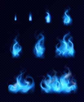 Blue gas flames realistic set of different forms and sizes on black background isolated