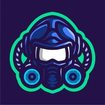 青い防毒マスクとスポーツ