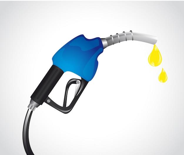 灰色の背景ベクトル上に滴と青ガソリンポンプ