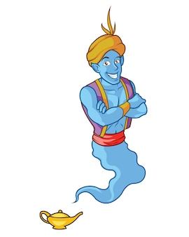 Blue genie coming out of the lamp